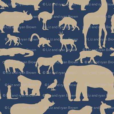 African Animals - Navy/Khaki