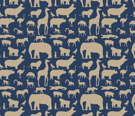 African Animals - Navy/Khaki fabric by thinlinetextiles on Spoonflower - custom fabric