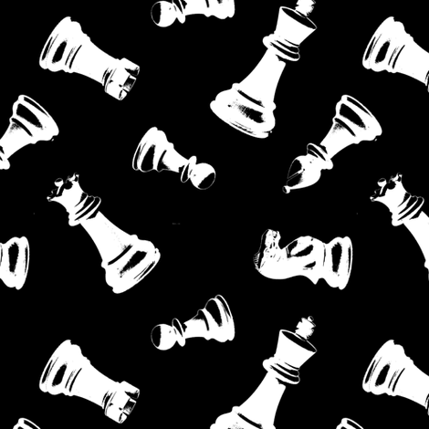 3d Chess Pieces // Black fabric by thinlinetextiles on Spoonflower - custom fabric