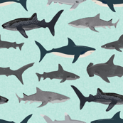 shark fabric // mint shark boys kids ocean animal sea creature hammerhead great white whales