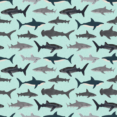 shark fabric // mint shark boys kids ocean animal sea creature hammerhead great white whales  fabric by andrea_lauren on Spoonflower - custom fabric