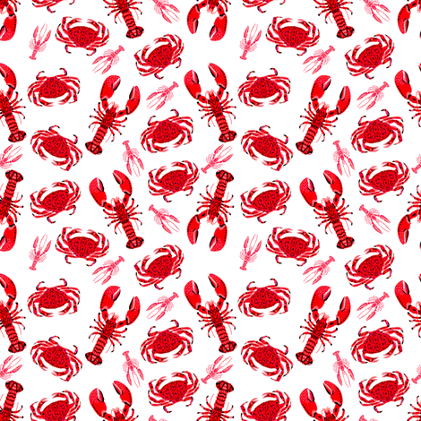 crab and lobsters // white red crustacean sea ocean red pink crabs fabric by andrea_lauren on Spoonflower - custom fabric