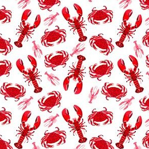 crab and lobsters // white red crustacean sea ocean red pink crabs