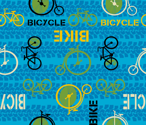 bike or bicycle blue by Diane Gilbert fabric by diane_gilbert on Spoonflower - custom fabric