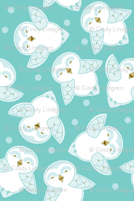 Snow Owls in turquoise