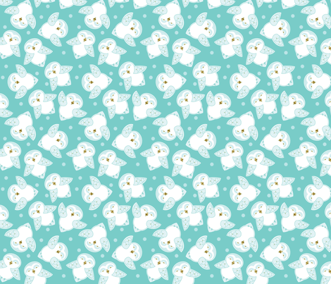 Snow Owls in turquoise fabric by cindylindgren on Spoonflower - custom fabric