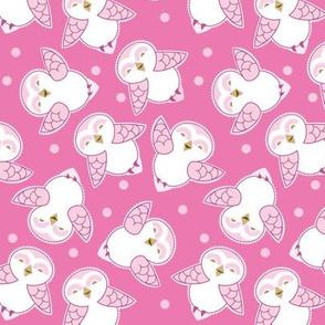 Snow Owls in magenta