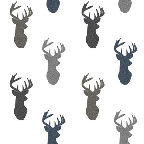 Textured_Deer_Heads_on_White