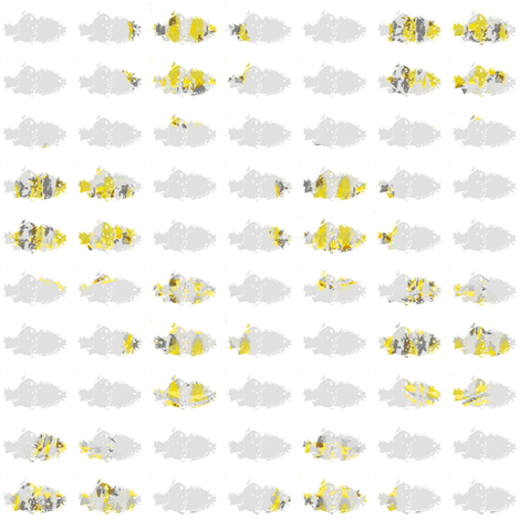 Lily Pond fish gray fabric by karenharveycox on Spoonflower - custom fabric