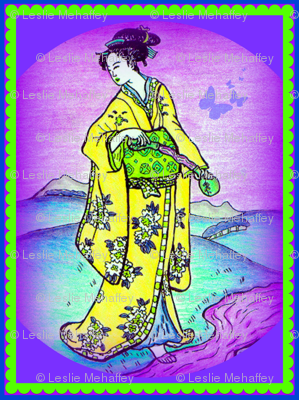 Graceful Geishas in Yellows and Purples