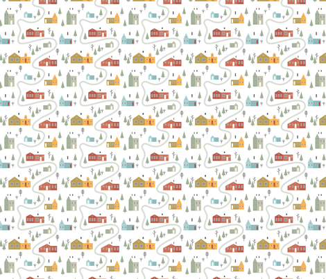 Scandinavian village fabric by radiocat on Spoonflower - custom fabric