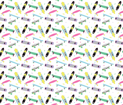 Retro skateboards fabric by radiocat on Spoonflower - custom fabric