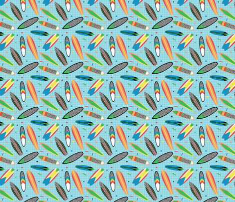 Bright surfboards in 80s style fabric by radiocat on Spoonflower - custom fabric