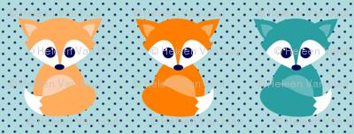 Baby foxes - turqoise, navy, orange