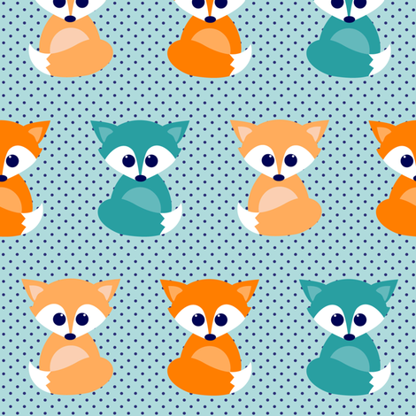 Baby foxes - turqoise, navy, orange fabric by heleenvanbuul on Spoonflower - custom fabric