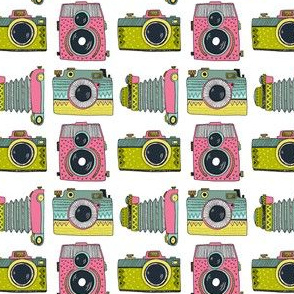 Colorful retro cameras