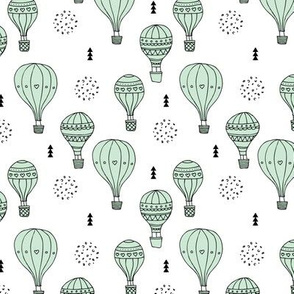 Sweet dreams hot air balloon sky scandinavian geometric style design pastel mint