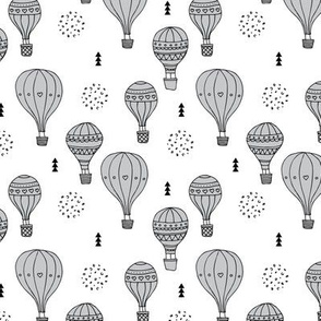 Sweet dreams hot air balloon sky scandinavian geometric style design gender neutral gray
