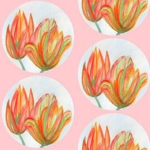 Painted Watercolor Tulip Bubbles