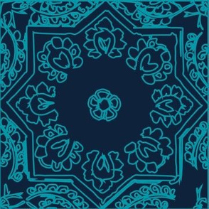 MOROCCAN tiles teal on navy