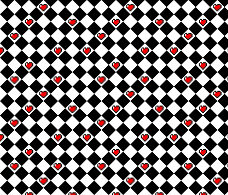 Black and White Checkered Hearts fabric by geekygamergirl on Spoonflower - custom fabric