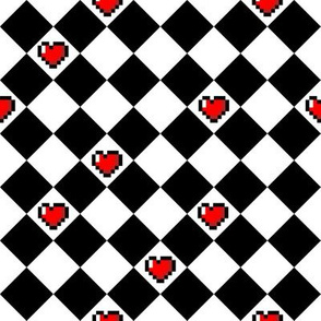 Black and White Checkered Hearts