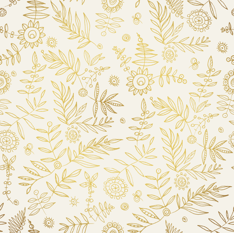 Hand Drawn Golden Floral Pattern Fabric By Ka Lou On Spoonflower
