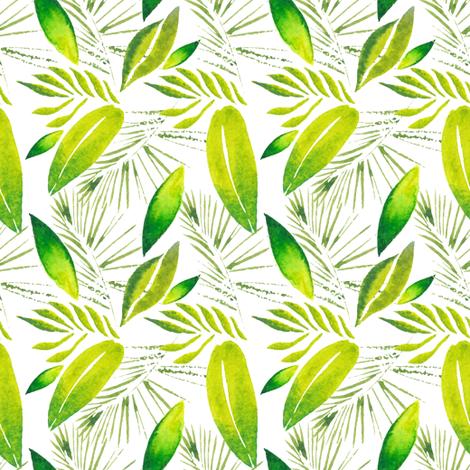 watercolor tropical leaves pattern fabric ka lou spoonflower
