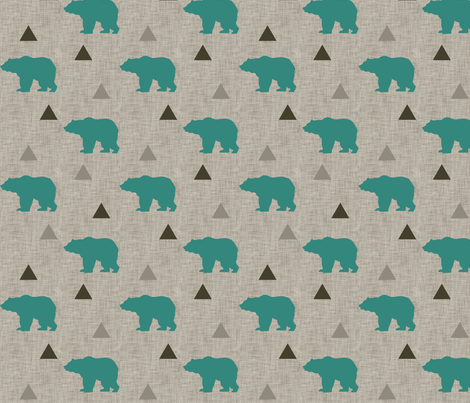 Bears_and_Triangles_Teal_Linen fabric by googoodoll on Spoonflower - custom fabric
