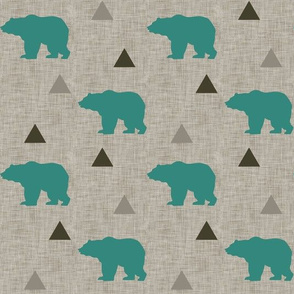 Bears_and_Triangles_Teal_Linen
