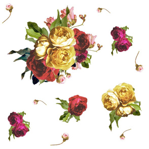 Dark Floral Garden  Flower Print - LARGE