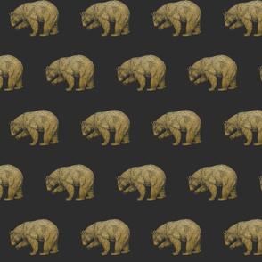 Gold Bears on Gray Grey Bear Grizzly Bear Brown Bear Black Bear