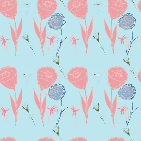 "Dancing Flowers 4"" fabric by jdeebella on Spoonflower - custom fabric"