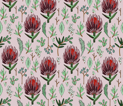 protea_lavender fabric by holli_zollinger on Spoonflower - custom fabric