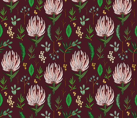protea_dark_maroon fabric by holli_zollinger on Spoonflower - custom fabric