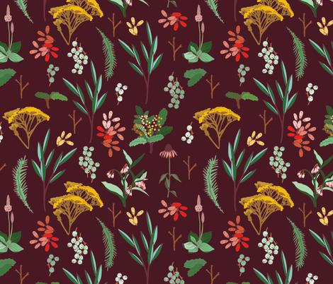 herbal_study_maroon fabric by holli_zollinger on Spoonflower - custom fabric