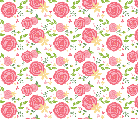Spring Peony in Coral fabric by marketeightynine on Spoonflower - custom fabric