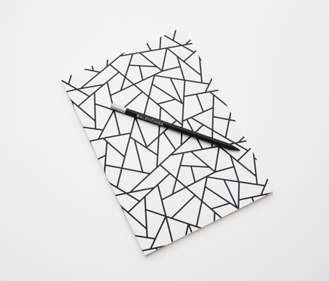 Abstract Geometric Black on White Small