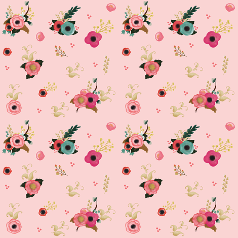 Sweet Florals - Pink fabric by shopcabin on Spoonflower - custom fabric
