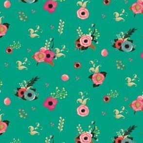 Sweet Florals - Aqua