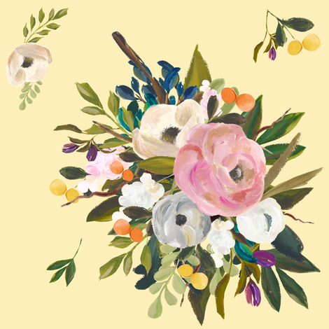 August Floral -  Yellow fabric by shopcabin on Spoonflower - custom fabric