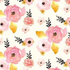 Floral Dreams in Pink Yellow & Black