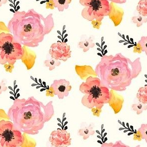 Floral Dreams in Pink Yellow Black & Coral