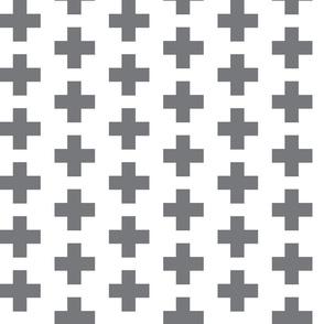 Grey Swiss Plus Signs - 2x2