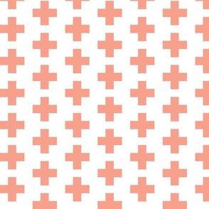 Peach Swiss Plus Signs  2x2