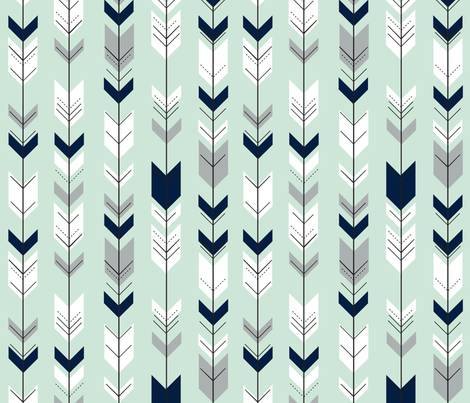 Fletching arrows // Northern Lights - Mint fabric by littlearrowdesign on Spoonflower - custom fabric