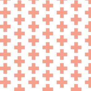 Peach Swiss Plus Signs  2x2-ed