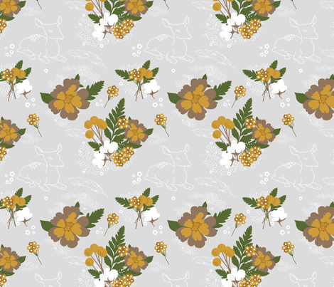 Deer in the Garden fabric by bashfulbirdie on Spoonflower - custom fabric