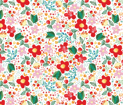Embroidered Flowers fabric by gypseeart on Spoonflower - custom fabric