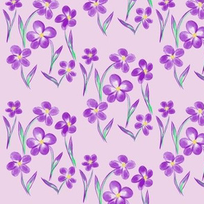 Dainty Meadow Flowers on Lilac Fields